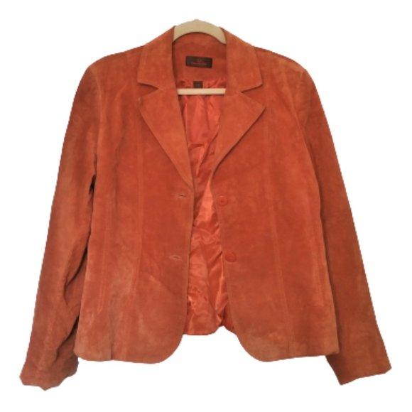 Danier suede leather burnt orange blazer jacket  L